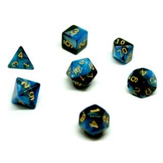 7er Würfelset 4-20 Seitig 2Farbig Würfel Blau-Schwarz