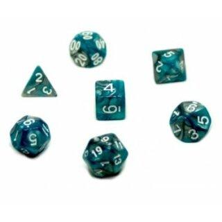 7er Würfelset 4-20 Seitige Würfel Türkis-Silberfarben