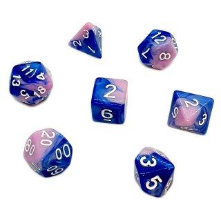 7er Würfelset 4-20 Seitige Rosa-Eiscrem mit Blau